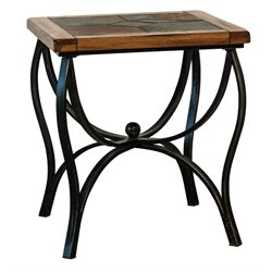 Sunny Designs Sedona Slate Metal End Table in Rustic Oak