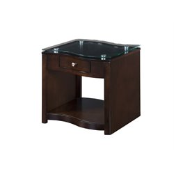 Sunny Designs Glass End Table in Espresso
