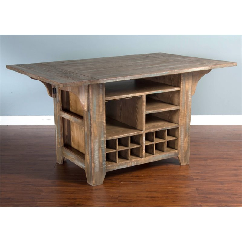 Sunny Designs Puebla Kitchen Island With Drop Leaf In Driftwood 1030dw