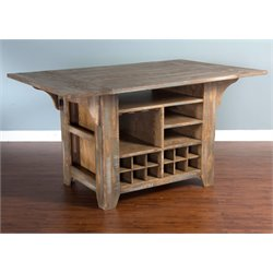 Sunny Designs Puebla Kitchen Island with Drop Leaf in Driftwood