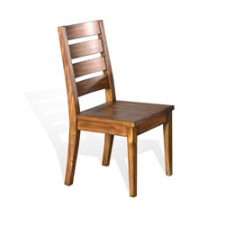 Sunny Designs Live Edge Ladder Back Wood Dining Chair in Natural Mindi