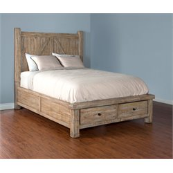 Sunny Designs Durango King Storage Panel Bed in Weathered Brown