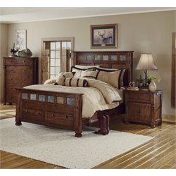 Santa Fe Panel Bed in Dark Chocolate