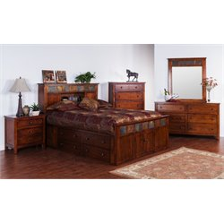 Sunny Designs Santa Fe Queen Storage Panel Bed in Dark Chocolate