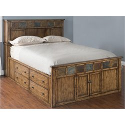Sunny Designs Belgrade King Storage Panel Bed in Burnish Mocha