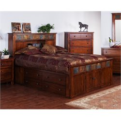Santa Fe Storage Panel Bed in Dark Chocolate