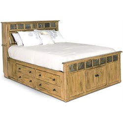 Sunny Designs Sedona King Storage Panel Bed in Rustic Oak