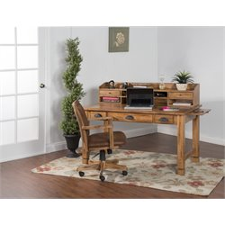 Sunny Designs Sedona Computer Desk with Hutch in Rustic Oak