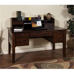 Sunny Designs Santa Fe Computer Desk with Hutch in Dark Chocolate