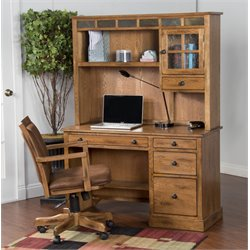 Sunny Deigns Sedona Computer Desk and Hutch in Rustic Oak