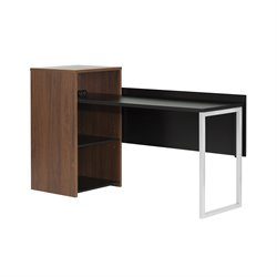 South Shore Tasko Writing Desk in Brown Walnut and Pure Black