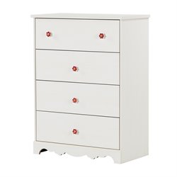 South Shore Lily Rose 4 Drawer Chest in White Wash