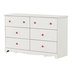 South Shore Lily Rose 6 Drawer Dresser in White Wash