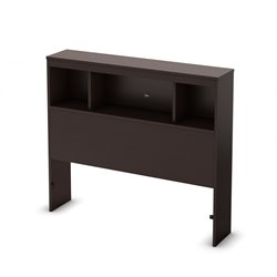 South Shore Karma Twin Bookcase Headboard in Chocolate