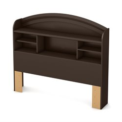 South Shore Morning Dew Full Bookcase Headboard in Chocolate