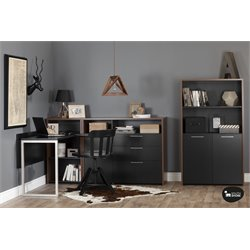 South Shore Tasko 3 Piece Office Set in Walnut and Black