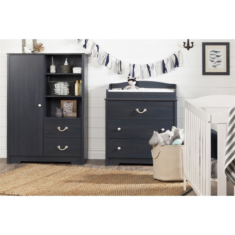 bedroom dresser drawers south shore aviron 3 drawer changing table in blueberry 10420