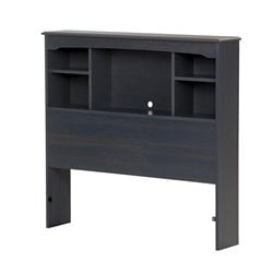 South Shore Aviron Twin Bookcase Headboard in Blueberry