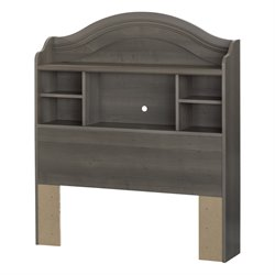 South Shore Savannah Twin Bookcase Headboard in Gray Maple