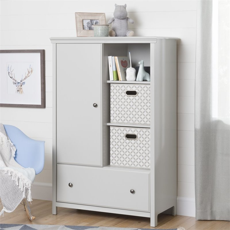 Delicieux South Shore Cotton Candy Armoire In Soft Gray