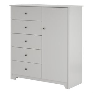 South Shore Vito 5 Drawer Chest in Soft Gray