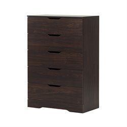 South Shore Holland 5 Drawer Chest in Red Brown Oak