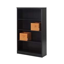 South Shore Morgan 4 Shelf Bookcase in Black Oak