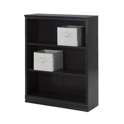 South Shore Morgan 3 Shelf Bookcase in Black Oak