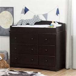 South Shore Angel 6 Drawer Changing Table Dresser in Espresso