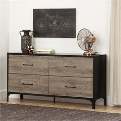 South Shore Valet 4 Drawer Dresser in Weathered Oak and Ebony
