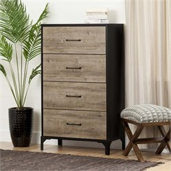 South Shore Valet 4 Drawer Chest in Weathered Oak and Ebony