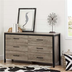 South Shore Munich 6 Drawer Double Dresser in Weathered Oak