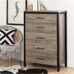 South Shore Munich 5 Drawer Chest in Weathered Oak