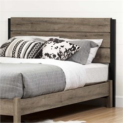 South Shore Munich Queen Panel Headboard in Weathered Oak