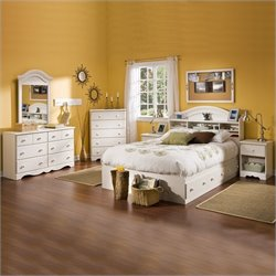 South Shore Summer Breeze Full Mates Bed in White Wash