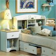 South Shore Newbury Kids Twin Bookcase Storage Bed Set in White Finish