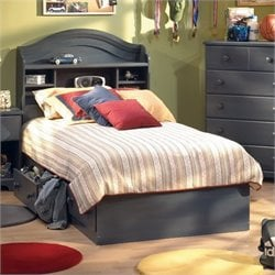 South Shore Summer Breeze Kids Twin Bookcase Storage Bed Set in Antique Blue Finish
