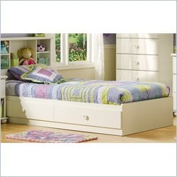 South Shore Sand Castle Twin Mates Storage Bed Frame Only in Pure White Finish