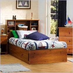 South Shore Sand Castle Twin Bookcase Storage Bed Set in Sunny Pine Finish