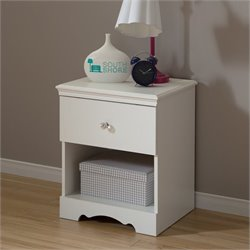 South Shore Crystal Wood Night Table in Pure White
