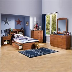South Shore Logik Kids Pine Wood Captain's Storage Bed 5 Piece Bedroom Set