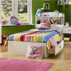 South Shore Logik Twin Mates Bed in Pure White