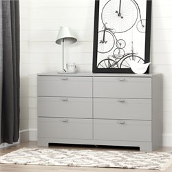 South Shore Reevo 6 Drawer Dresser in Soft Gray