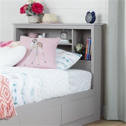 South Shore Reevo Twin Bookcase Headboard in Soft Gray