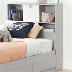South Shore Cookie Twin Bookcase Headboard in Soft Gray and Pure White