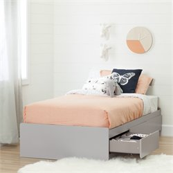 South Shore Cookie Twin Mates Bed in Soft Gray
