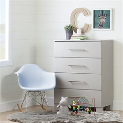 South Shore Cuddly 4 Drawer Chest in Soft Gray