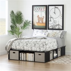 South Shore Flexible Full Platform Bed in Black Oak