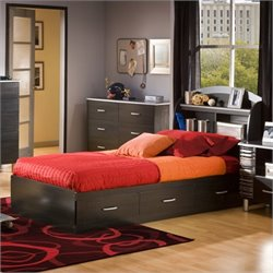South Shore Cosmos Kids Twin Bookcase Storage Bed Set in Black Finish