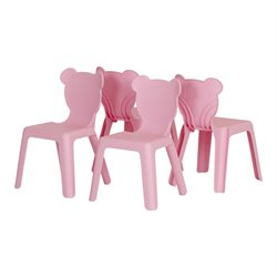 South Shore Crea Kids Plastic Stacking Chairs in Pink (Set of 4)